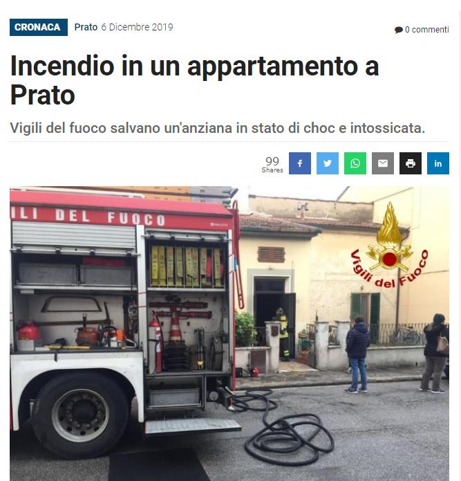 incendio in appartamento a Prato